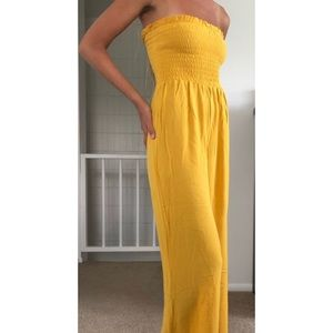 Yellow Smocked Top Jumpsuit